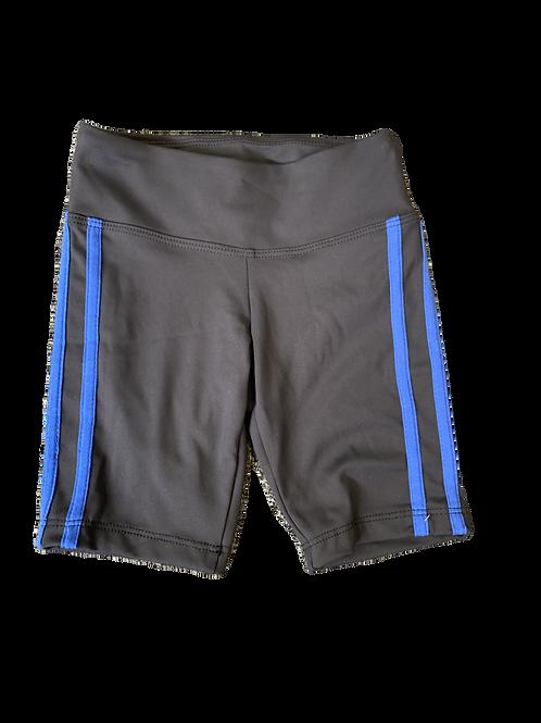 Black Bike Shorts with Blue Stripes