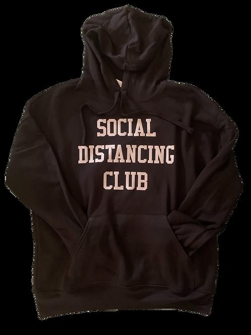 """Black Hoodie w/ Silver """"Social Distancing Club"""" print"""