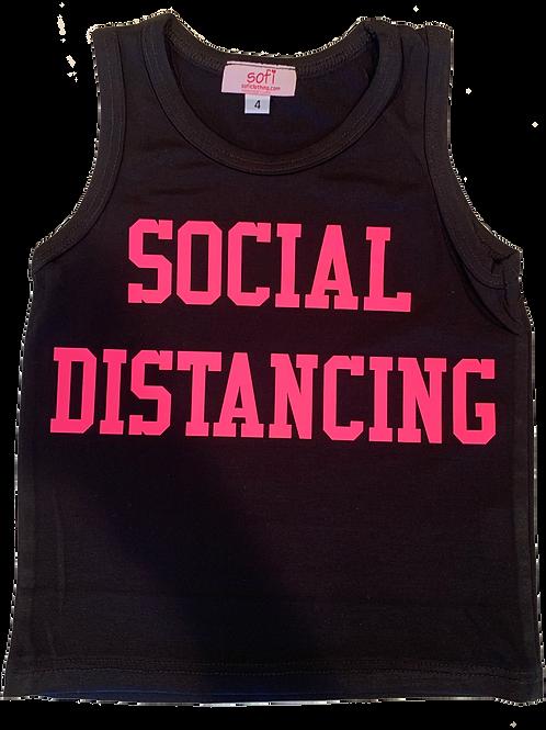 "Kid's Tank Top w/ Hot Pink ""Social Distancing"" print"