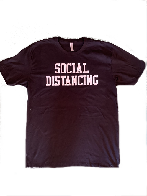 "Black Short Sleeve T-Shirt w/ White ""Social Distancing Club"" print"