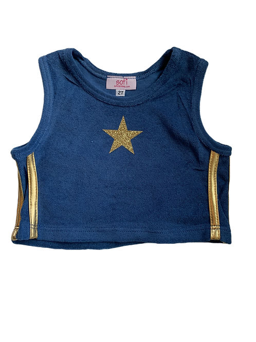 Blue/Gold Terry Cloth Crop Top