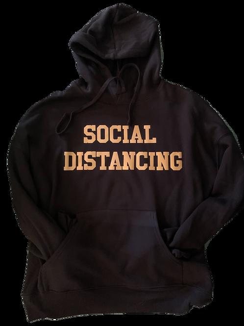 """Black Hoodie w/ Gold """"Social Distancing"""" print"""