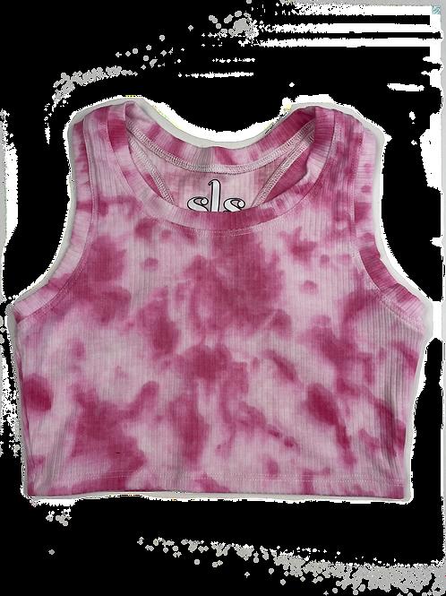 Pink/White Tie Dye Racerback Tank Top