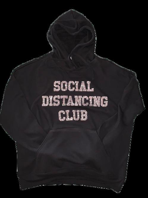 "Black Hoodie w/ Silver Glitter ""Social Distancing Club"" print"
