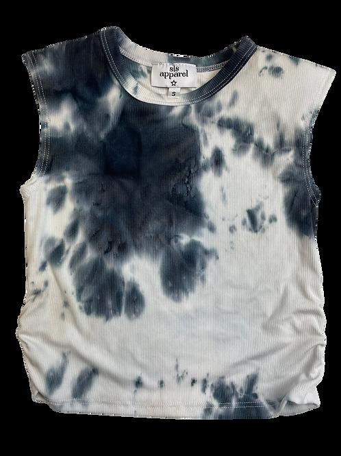 Black/White Tie Dye Ribbed Shoulder Pad Top
