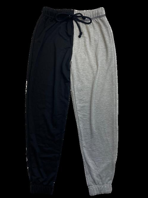 Black/Gray Color Block Sweatpants