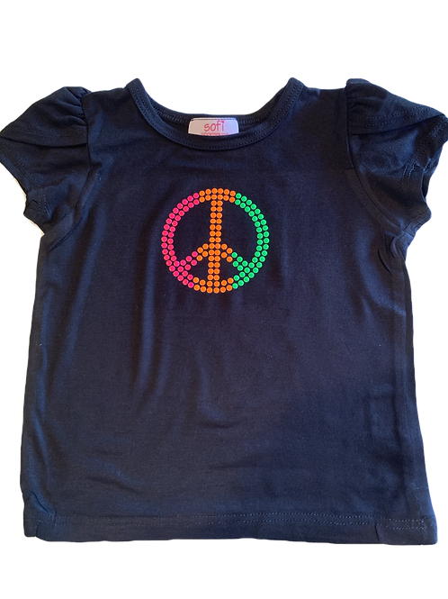 Black Flutter Sleeve Top with Neon Peace Sign