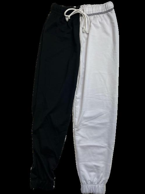 Black/White Color Block Sweatpants