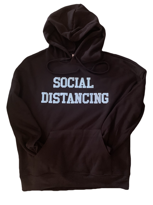 "Black Hoodie w/ Light Blue Glitter ""Social Distancing"" print"