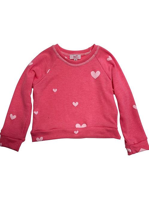 Pink White Heart Sweatshirt