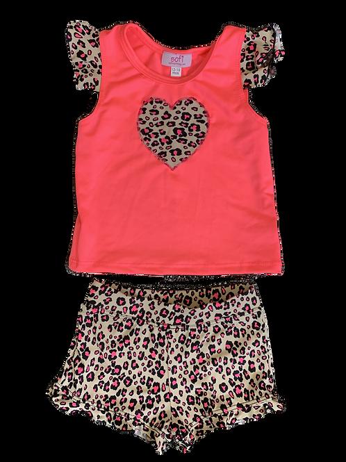 Tan Cheetah Ruffle Short Set