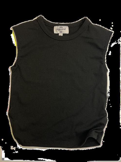 Black Ribbed Shoulder Pad Top