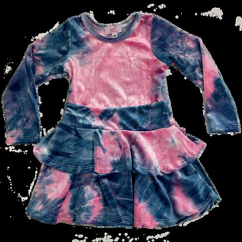Pink/Navy Velour Double Ruffle Dress
