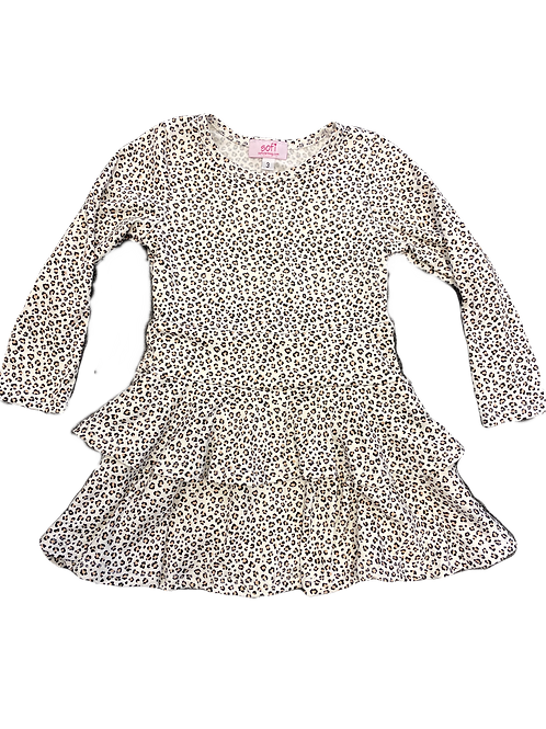 Mini Leopard Double Ruffle Dress
