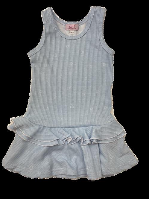 Blue/White Heart Tank Ruffle Dress