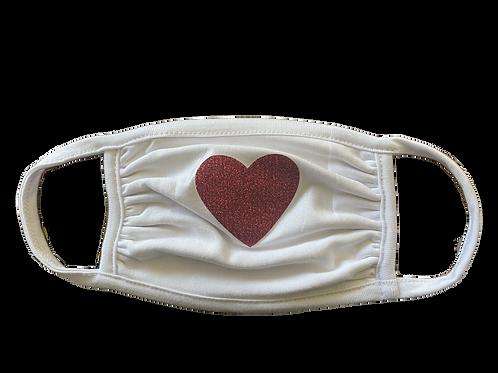 White Mask w/ Red Glitter Heart