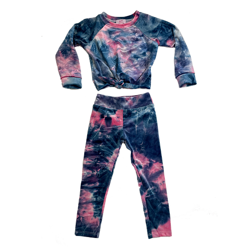 Pink/Navy Velour Tie Dye Set