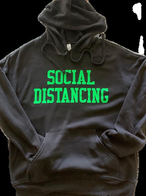 """Black Hoodie w/ Neon Green """"Social Distancing"""" print"""