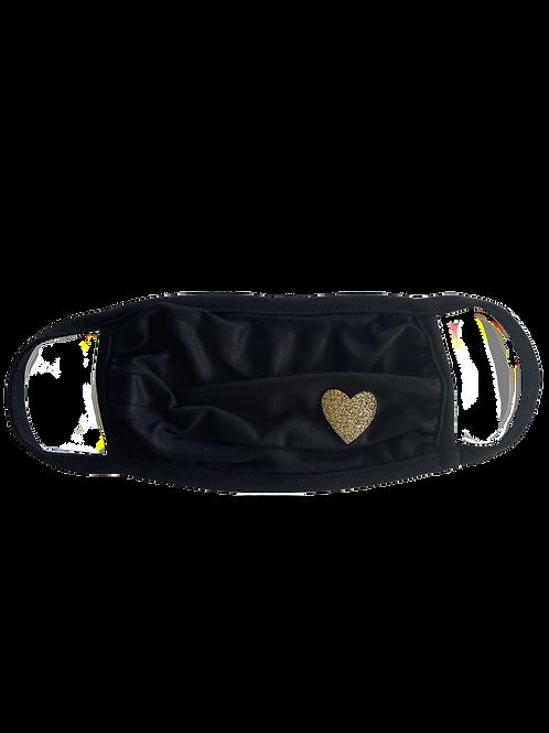 Black/Gold Heart Mask