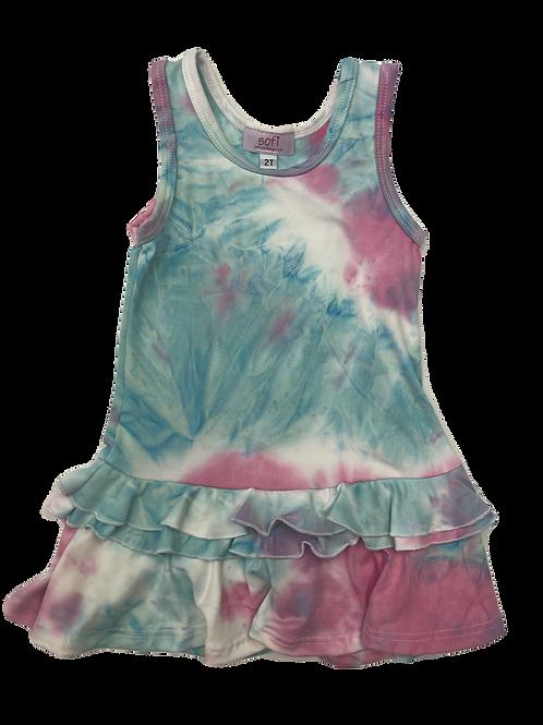 Pink/Blue Tie Die Tank Ruffle Dress