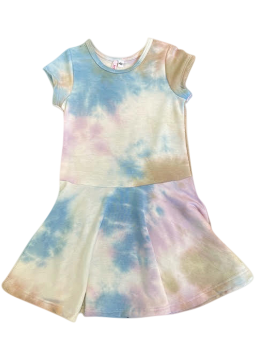 S/S TAN/BLUE TIE DYE DRESS