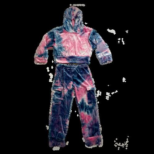 Pink/Navy Velour Hood Set