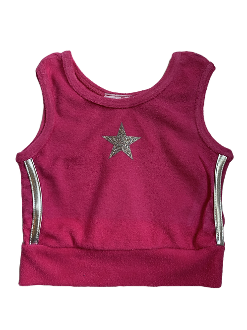 Fuchsia/Silver Terry Cloth Crop Top