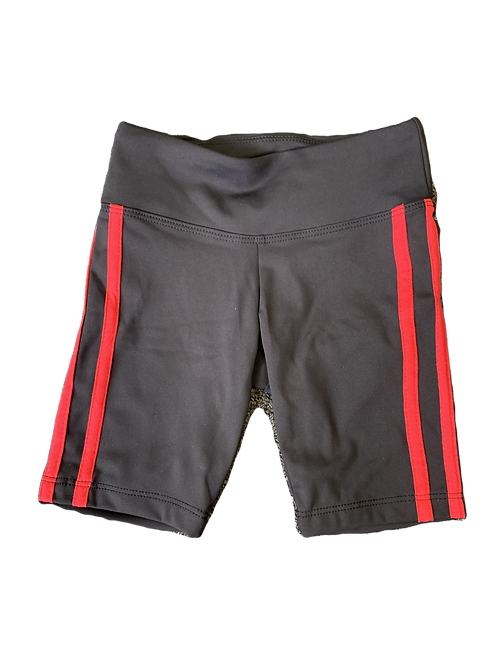 Black Bike Shorts with Red Stripes