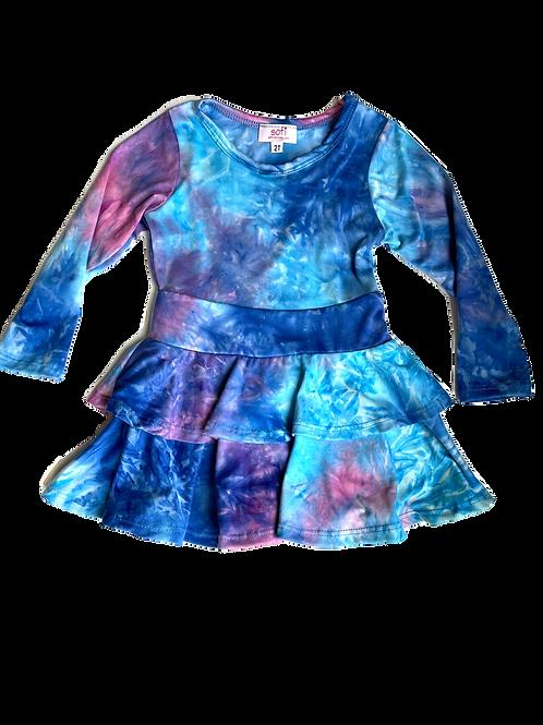Blue/Purple Tie Dye Double Ruffle Dress