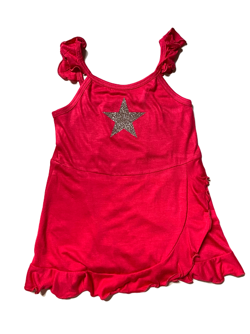 Hot Pink Ruffle Tank Dress with Star