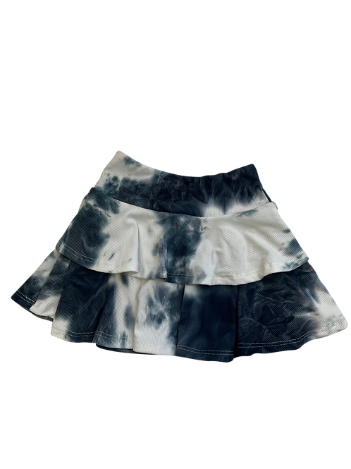 Black/White Tie Dye Rib Skirt