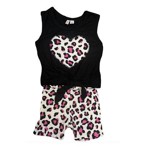 Black/Fuchsia Leopard Heart Set