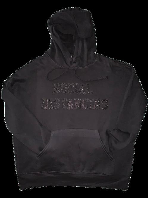 """Black Hoodie w/ Black Glitter """"Social Distancing"""" print"""