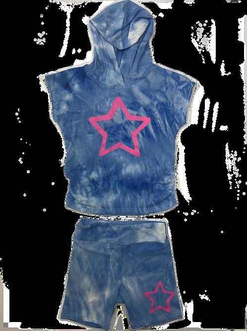 Blue Tie Dye w/ Star Hooded Set