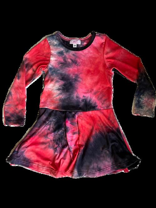 Raspberry/Blk Tie Dye Dress Dress