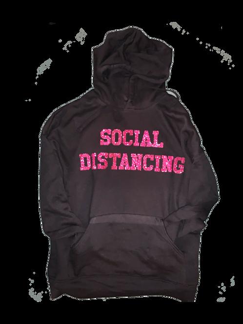 "Black Hoodie w/ Glitter Hot Pink ""Social Distancing"" print"