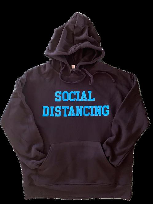 "Black Hoodie w/ Turq ""Social Distancing"" print"