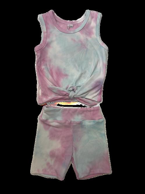 Pink/Blue Tie Dye Tie Tank Set