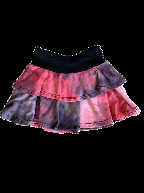 Raspberry/Blk Tie Dye Skirt