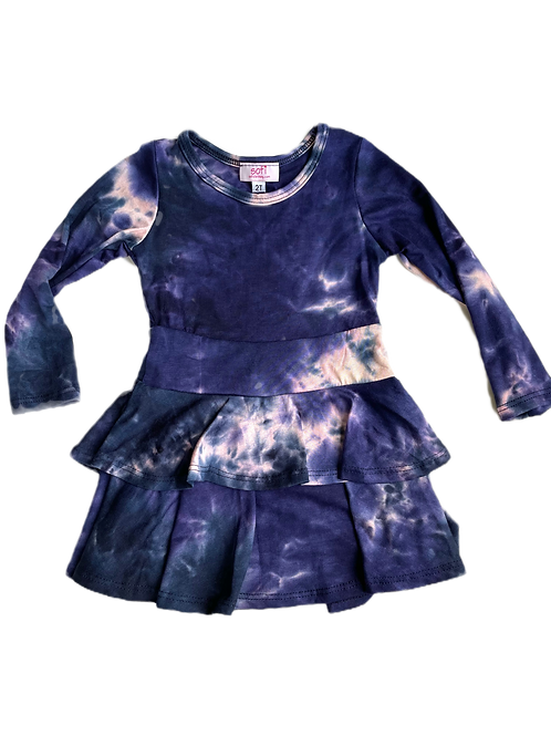 Navy/Pink Tie Dye Double Ruffle Dress