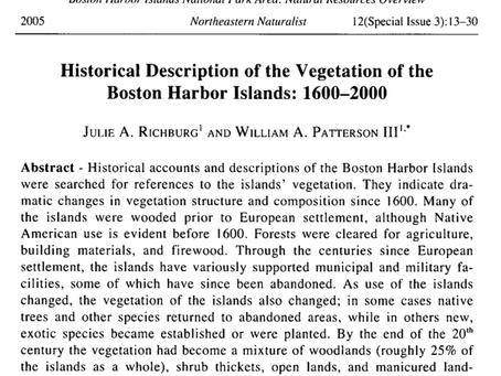 Historical Description of the Vegetation of the Boston Harbor Islands: 1600-2000