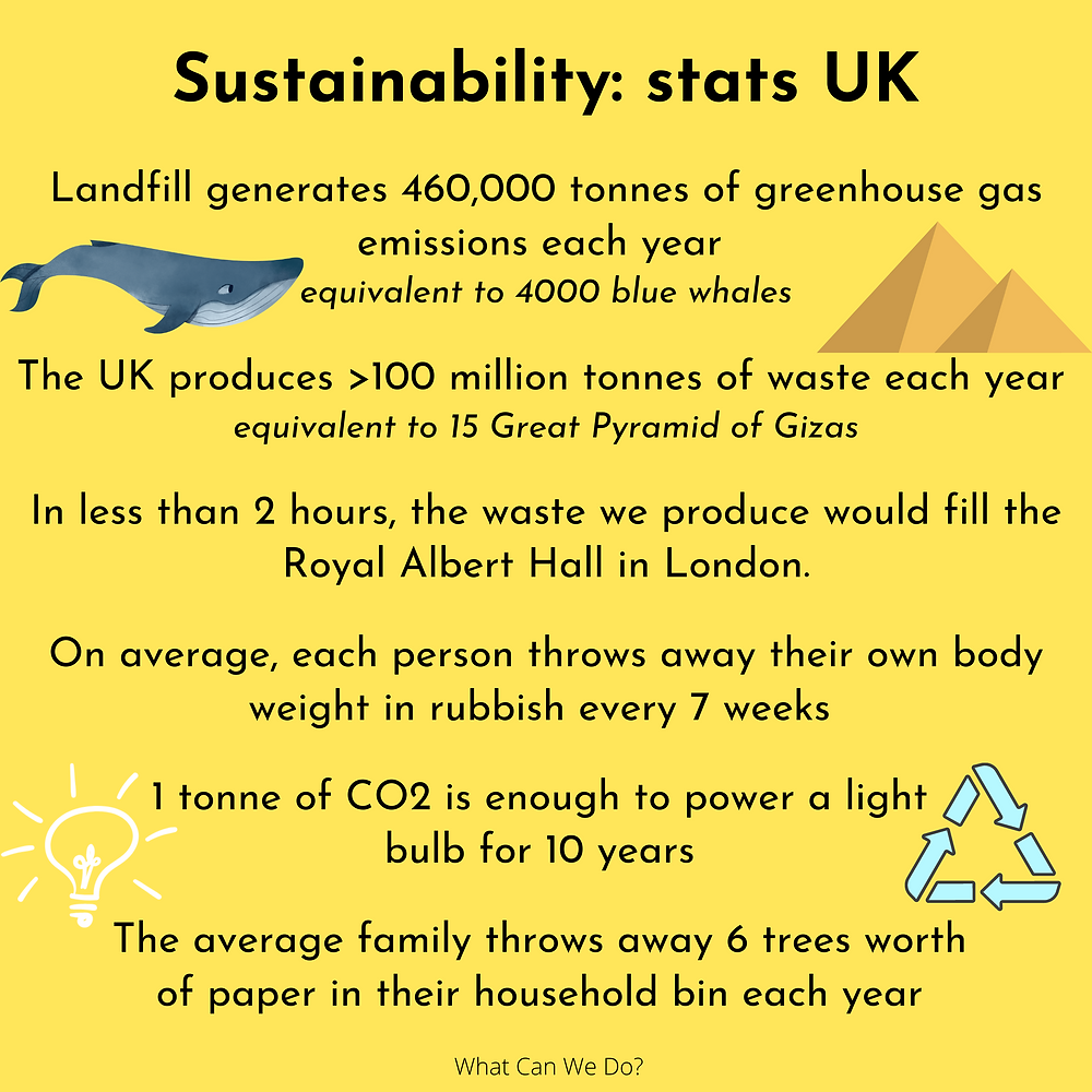 yellow slide with UK sustainability facts on
