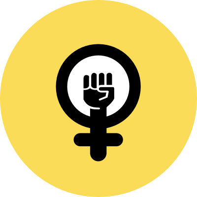 Feminist Coalition logo, a black fist in a yellow background