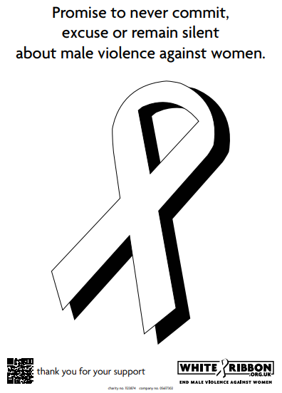 Image of a white ribbon with the declaration to promise to never commit, excuse or remain silent about male violence against women