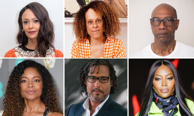 Signatories include (clockwise from top left): Thandie Newton, Bernardine Evaristo, Michael Braithwaite, Naomi Campbell, David Olusoga and Naomie Harris. Composite: Karen Robinson, Getty, Graeme Robertson