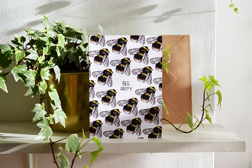Bee Happy - Hand Drawn Greetings Card