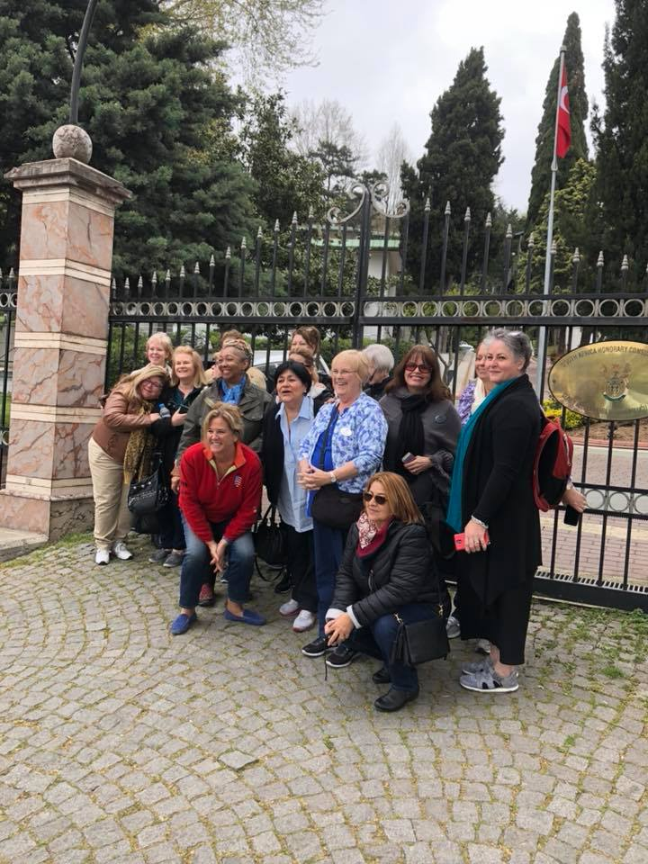 The Sinaner Mansion is the South African Embassy.  Here are some of the ladies outside the gates.