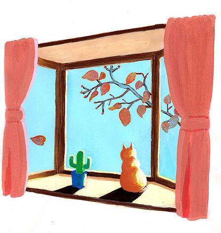 真冬の窓辺で日向ぼっこをする猫。風がなく太陽の熱だけが降りそそぐ場所は冬でも十分暖かい