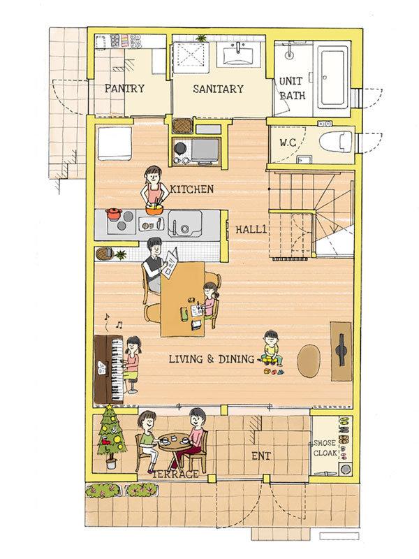 1階平面図|エアコンのいらない家・千葉N邸