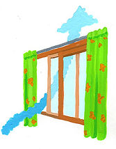 窓を小さく開けると風の流れは少なめに